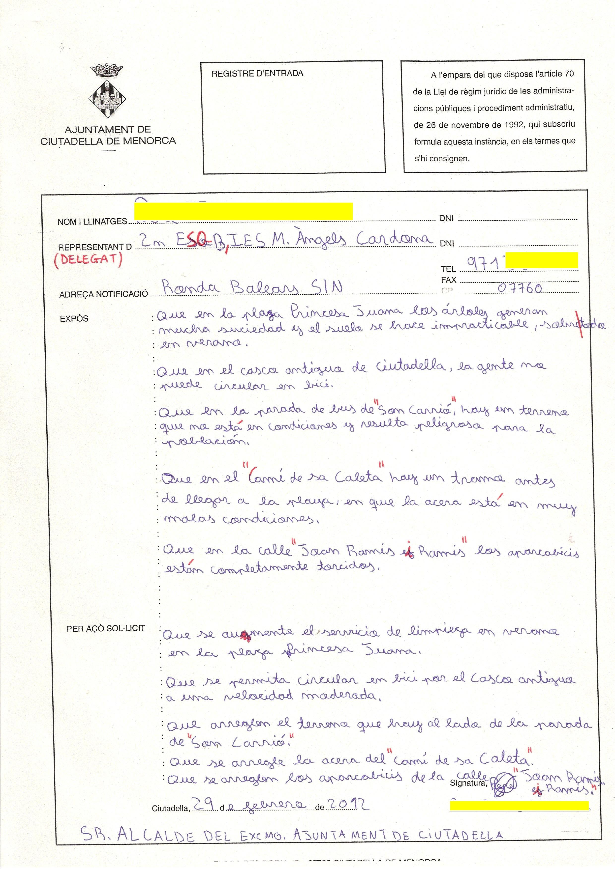 Cómo enseñar a los alumnos a redactar una instancia