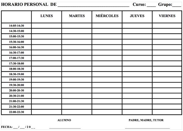 Actividad de tutor a el horario personal for Horario oficinas cajastur