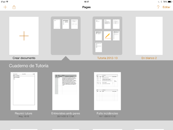 Cuaderno tutor ipad
